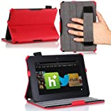 MoKo (TM) Slim-fit Folio Cover Case for Amazon Kindle Fire HD 7 Inch 2012 Tablet, RED (with Automatic Wake/Sleep function, Protective Hardback, Built-in Multi-angle Stand, Integrated Elastic Hand Strap)--Lifetime Warranty (Will Not Fit Fire HD 7 2013 Gen / HDX 7 2013 Gen / HD 7 2014 Gen)