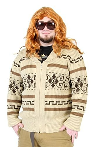 The Big Lebowski Jeffery The Dude Zip Up Costume Cardigan Sweater (Adult XX-Large)