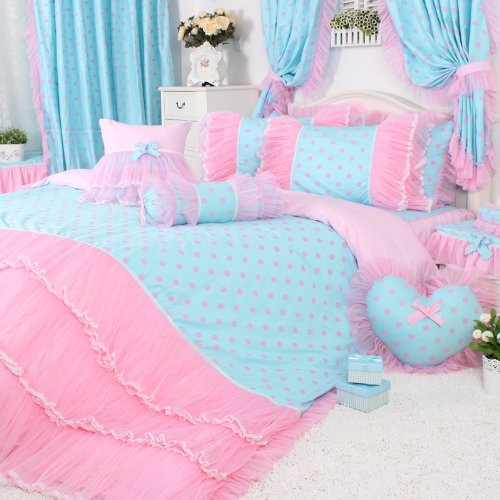 DIAIDI Home Textile,Princess Lace Ruffle Duvet Cover Bedding Sets,Blue And Pink Polka Dot Bedding Set,Twin Queen King,4Pcs Bed Sets