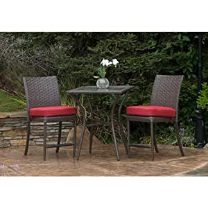 Brown modern weather resistant wicker balcony height steel 3 piece patio bistro set - Must have pieces for your patio furniture ...