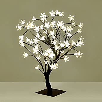 Decorative Cherry Blossom Bonsai Style Tree Table Lamp Light With 72 Glorious White LED's - 45cm