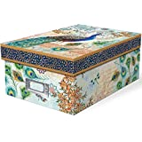 Punch Studio Blue Royal Peacock Photo Storage Box