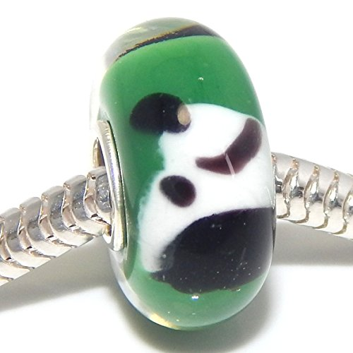 """925 Sterling Silver """"Green Background with Black and White Dog Head"""" Glass Charm Bead"""