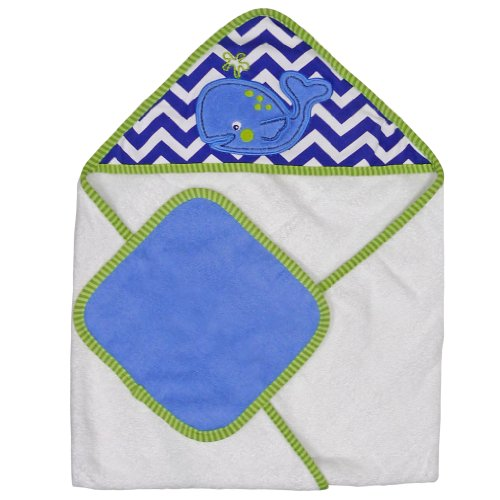 Neat Solutions Single Applique Print Woven Terry Hooded Towel and Washcloth Set, Whale - 1
