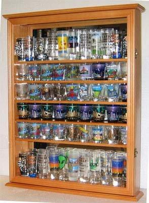 Large 72 Shot Glass Holder Display Case Cabinet, Holds Hard Rock and Jack Daniels or shot glasses - Oak Finish (Shot Glass Display Case 72 compare prices)