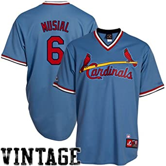 MLB Stan Musial St. Louis Cardinals #6 Majestic Cooperstown Collection Throwback... by Majestic