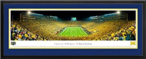 Michigan Wolverines - Michigan Stadium - Under the Lights - Framed Poster Print by Laminated Visuals