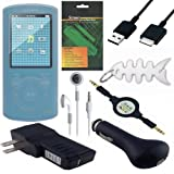 8 Piece Premium Value Combo Accessory Bundle Kit: Clear Silicone Skin Case Cover + USB Car Charger + USB Wall / Travel / AC Adapter Charger + USB 2in1 Data Sync Cable + White Stereo Headphone + 3.5mm Aux Retractable Cable + Screen Protector / Guard + Fishbond keychain for Sony Walkman (NWZ-E463 NWZ-E464 and NWZ-E465) Series MP3 Player