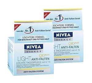 2 x Nivea Visage Light Anti-Falten Q10Plus Leichte Tagespflege mit LF15 für fettige Haut und Mischhaut/je 50 ml