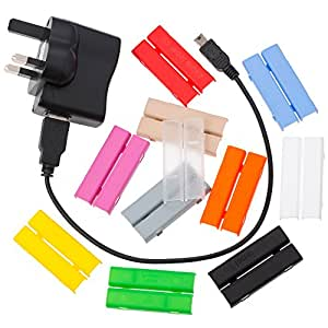 Cablebug5 (large) Pack of 20 Multi Coloured Clip-On Cable Labels. Fits Cables from 5mm to 7mm