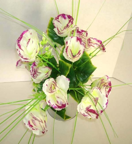 12 White Rose Artificial Silk Flowers Bouquet