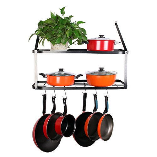 VDOMUS Shelf Pot Rack Wall Mounted Pan Hanging Racks 2 Tire, Black, 10.6