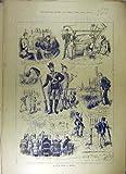Vieille Copie de 1880 de Croquis de Sport de la Belgique de Chasse Poissons de Pousse...