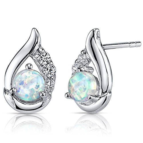 created-opal-earrings-sterling-silver-round-cabochon-100-carats