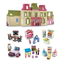 Hot Sale Fisher Price Loving Family Dream Mega Set Dollhouse w/ Dolls & Furniture