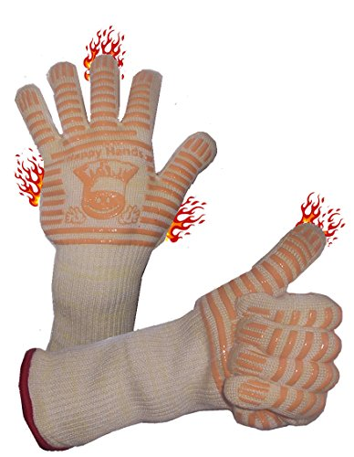 Happy Hands Silicone BBQ Oven Gloves Mitts with Extra Long Cuffs for Maximum Protection. Nomex & Kevlar Outer Layer Gloves (Small/Medium) (Small Oven Gloves compare prices)