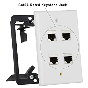 Wi4You Ethernet Wall Plate 4 Port, Single Gang RJ45 Wall Plate + Mounting Bracket + Full Shielded Cat6a Jack,for Cat5 Cat5e Cat6 Cat6A Ethernet Cables (Cat6A-4port, 1pack) (Color: Cat6A-4 Port+Mounting Bracket; 1pack)