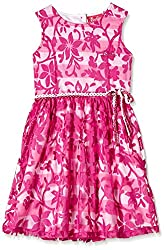 Barbie Girls' Dress (DRAFA161210005_Candy Pink and Magenta_4/5)