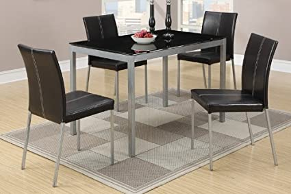Metal Dining Table with Black Glass Top and 4 Chairs by Poundex