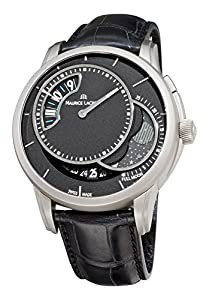 Men's Automatic Moonphase Black Dial Black Genuine Alligator