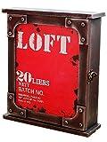 ビンテージ 木製 キーボックス アンティーク 壁掛け 鍵 インテリア キーケース 鍵箱 キー 収納 小物 雑貨 (レッド)