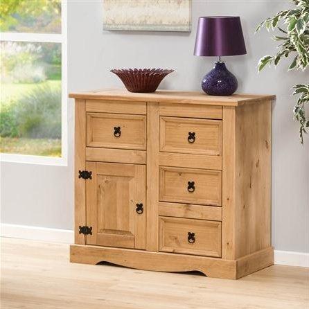 Sideboard Aztec Light Corona Solid Pine 4 Drawer 1 Door Cupboard Wooden Chest