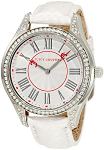 Juicy Couture Women's 1900876 Lively White Embossed Leather Strap Watch