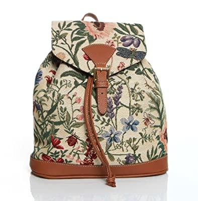 Women's Small Rucksack Backpack Tapestry Canvas Fashion Bags (Morning Garden)