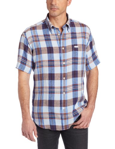 Red Teal Lucky Brand Mens Rustic Poplin Western 100/% Cotton Shirt Short Sleeve