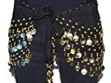 Black Chiffon Dangling Gold Coins Belly Dance Hip Scarf