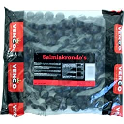 Licorice in 1 KiloBag 2.2lb - Venco Salmiakrondo\'s (Black Round Shaped Semi Hard Black Licorice Filled with Salmiak)