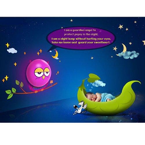 Lentenda 3D Led Night Light Wall Sticker Diy Mural Kid Nursery Bedroom Decoration Lamp Wn Cartoon Led Light Diy Baby Night Light (Owl) front-869833