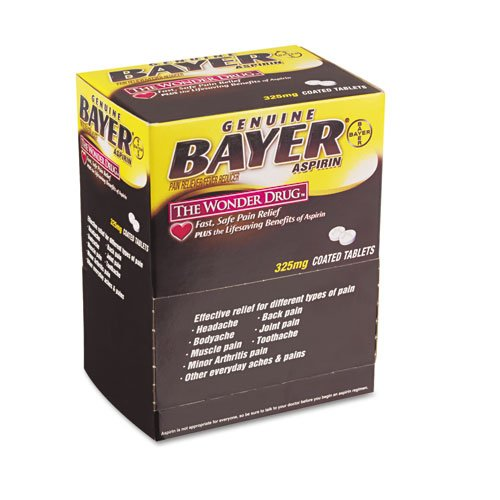 PhysiciansCare : Bayer Aspirin Pain Reliever, 50 Two-Packs per Box -:- Sold as 1 BX