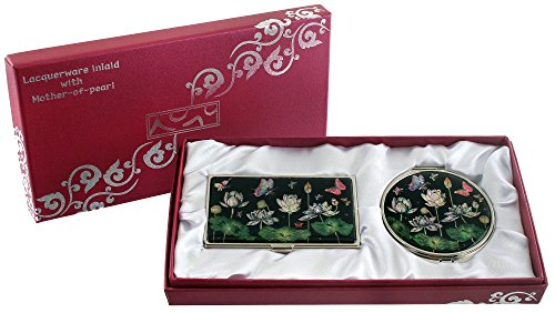 Mother Of Pearl Compact Mirror Business Credit Name Card Holder Set Stainless Steel Lotus Flower & Butterfly Design front-422949