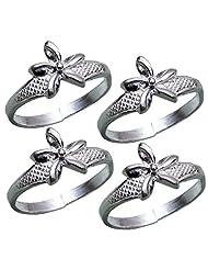 Aman Statuesque Multi Stone Silver Toe Ring_D8NV3441