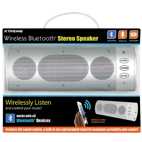 Xtreme 51893 Wireless Bluetooth Stereo Speaker - Retail Packaging - Silver