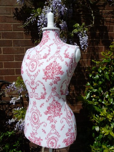 French Shabby Chic Vintage Style Wooden Raspberry Red Toile Tailors Dummy Mannequin