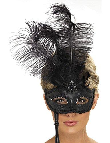 Venezianische Stab Maske mit Federn schwarz