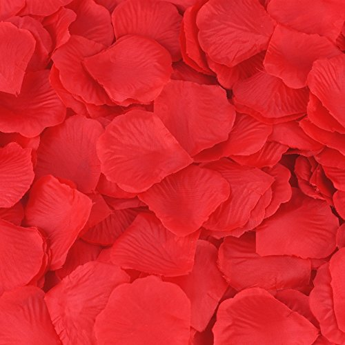 HCSTAR 1200pcs Silk Rose Petals Artificial Flower Wedding Party Vase Home Decor Bridal Petals Rose Favors, Red