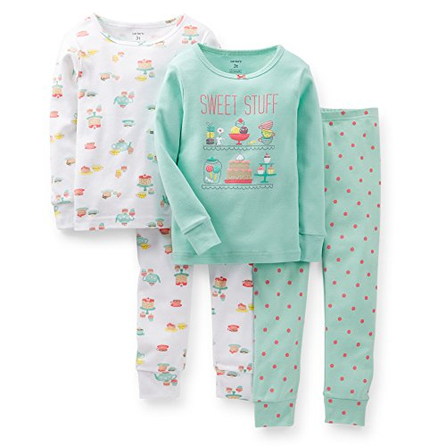 Carter'S Baby Girls' 4 Piece Pant Pj Set (Baby) - Tea Party - 18 Months front-160096