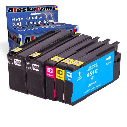 Alaskaprint WOW-Angebot 5x Druckerpatronen Ersatz für Hp 950 XL + 951 XL Tinte , 2x hp 950 black, je 2.300 Seite + 1x Hp 951 Cyan, je 1.500 Seiten + 1x Hp 951 Magenta, 1.500 Seiten + 1x Hp 951 Gelb,, 1.500 Seiten Ersatz für Hp CN046AE-49AE Original Greatserie5x950 951 Set-hp