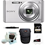 Sony DSCW830 DSCW830 W830 20.1 Digital Camera with 2.7-Inch LCD (Silver) + Sony Flip Style Case Black + Sony 16GB SDHC/SDXC Memory Card + Focus 5 Piece Deluxe Cleaning and Care Kit + Accessory Kit