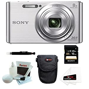 Sony DSCW830 DSCW830 W830 20.1 Digital Camera with 2.7-Inch LCD (Silver) + Sony Case + Sony 16GB SDHC/SDXC Memory Card + Focus 5 Piece Deluxe Cleaning and Care Kit + Accessory Kit