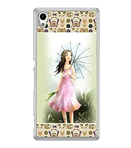 ifasho young Girl with umbrella Back Case Cover for Sony Xperia Z4