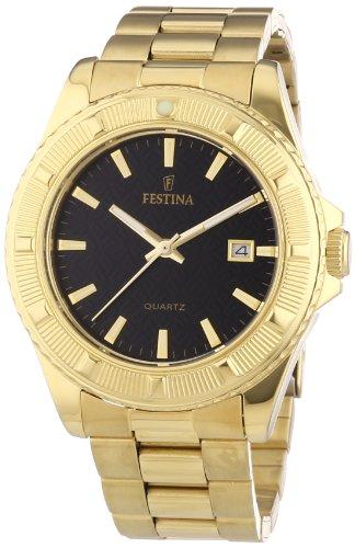 Festina Trend F16682/5 - Reloj analógico de cuarzo unisex, correa de acero inoxidable chapado color dorado (agujas luminiscentes)