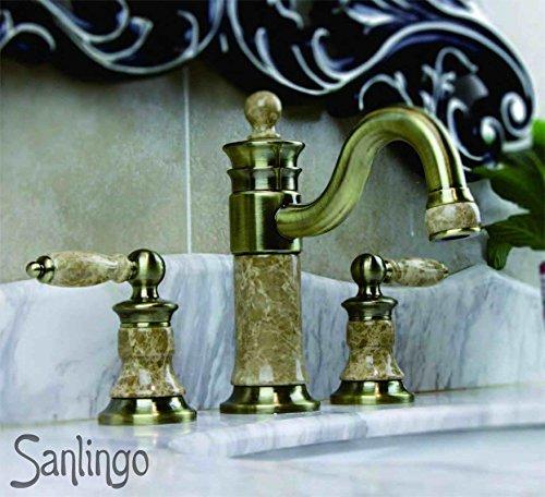 Sanlingo Retro 3Loch Armatur Waschbecken Waschtisch Antik Messing Marmor Sanlingo