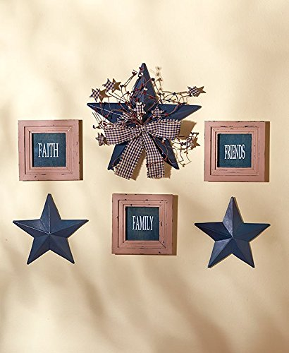 6 Pc Inspirational Sentiment Star Wall Frame Decor (Blue Faith Family Friends)
