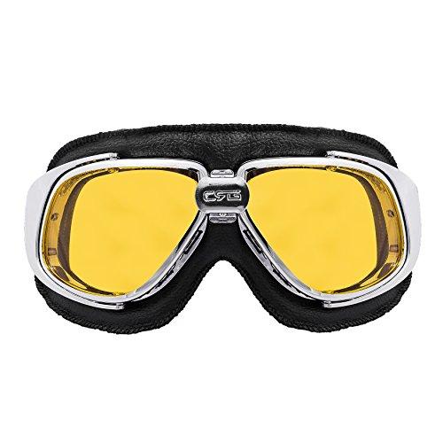 Zoelibat - Brille Retro - Gläser Gelb - Steampunk Motorrad für Biker Flieger Raver zum Karneval Fasching - schwarz / silberfarben