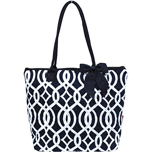 Vine Pattern Quilted Large Stripe Bag (Navy)