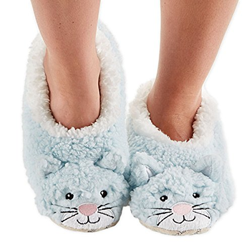 Snoozies Womens Animal Heads Sherpa Plush Fleece Lined Footcoverings Cat Large